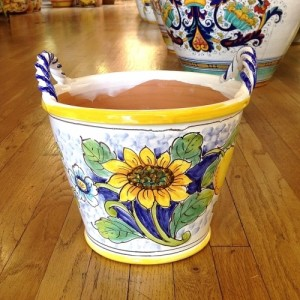 Medium Handled Flowerpot - Sunflower on White