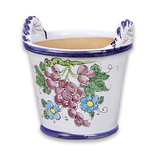 Medium Handled Flowerpot - Grapes