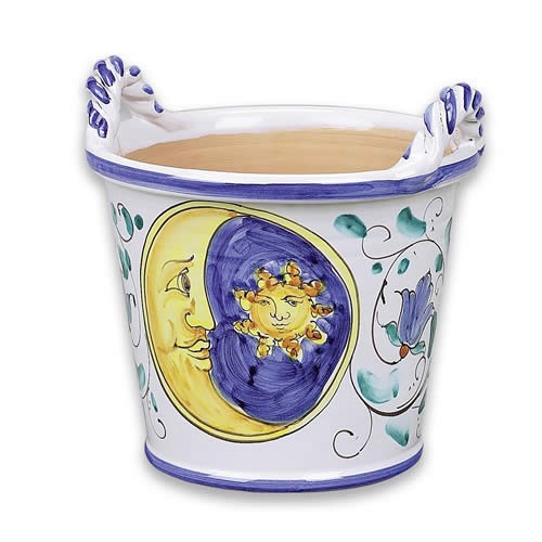 Medium Handled Flowerpot - Sun-Moon