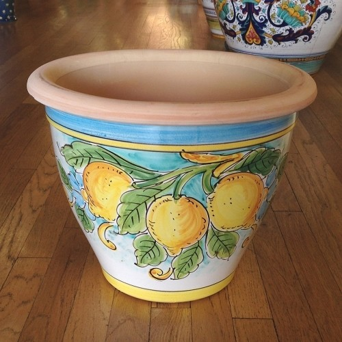 Bell-shaped Pot - Lemons with Turquoise