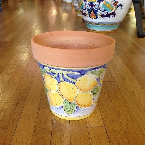 Medium Flowerpot - Lemons on White
