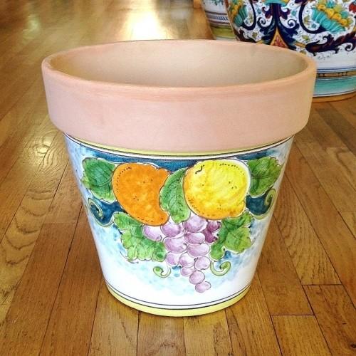 Large Flowerpot - Fruit on Teal