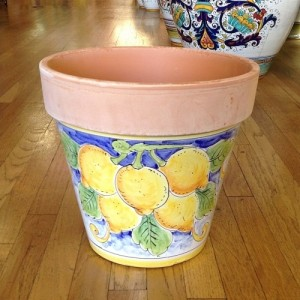 Large Flowerpot - Lemons on White