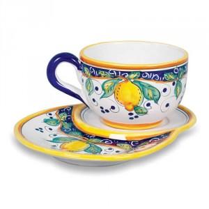 Alcantara Latte Cup with Biscotti Saucer