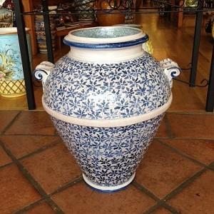 Bianco e Blu Handmade Tuscan Urn
