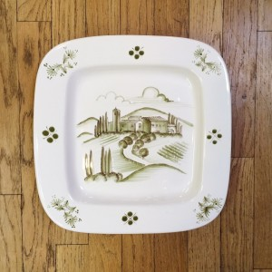 Tuscan Scene Handpainted Plate - Cypress Trees