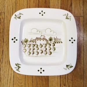 Tuscan Scene Handpainted Plate - Orchard