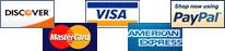 Visa, Mastercard, Disover, American Express, and Paypal.