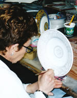 Italian Woman Painting Pottery