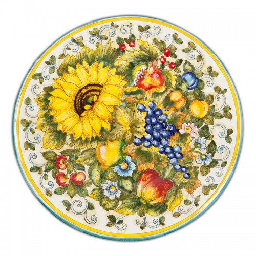 San Lorenzo Large Round Platter With Fruit And Sunflower Italian Pottery Outlet
