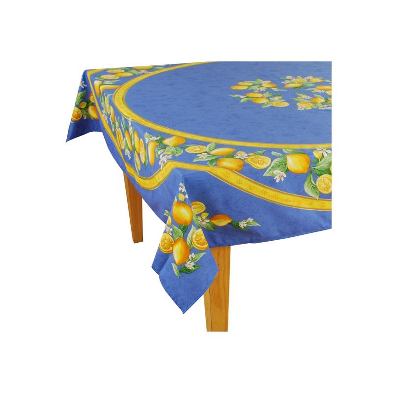 Lemon Blues Coated Cotton Tablecloth