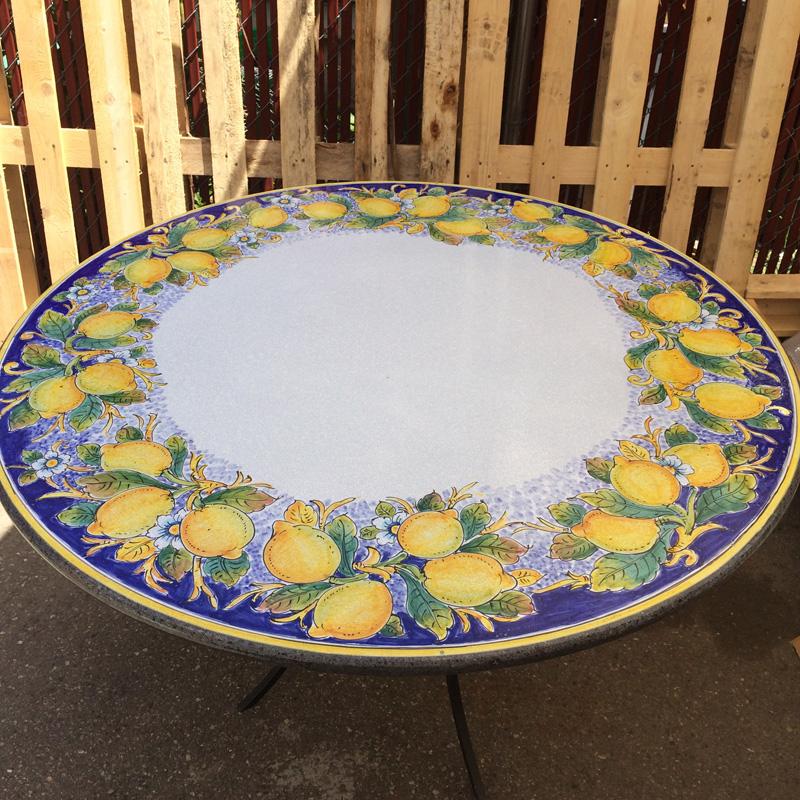 39 Italian Volcanic Stone Table Lemons On Blue