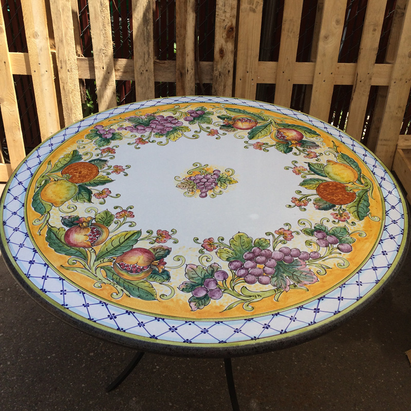39 Italian Volcanic Stone Table Fruit With Blue Crosshatch