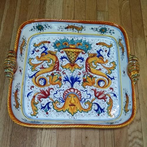 Raffaellesco Large Square Platter With Handles Italian