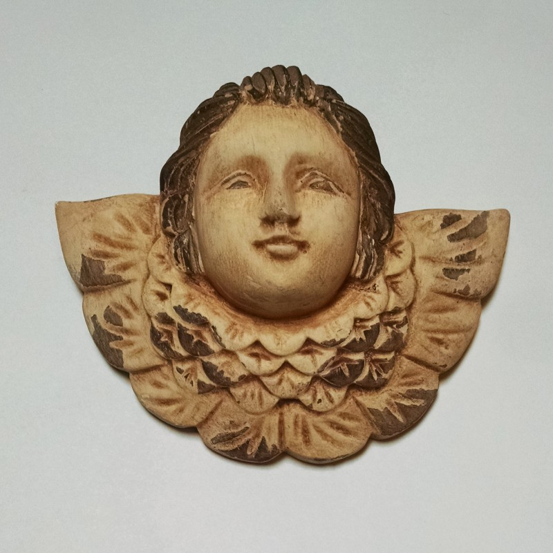Hand Carved Wooden Angel Face