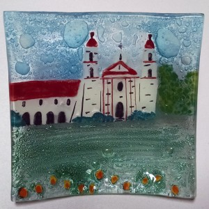 Santa Barbara Mission Glass Tray