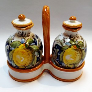 Toscana Volute Oil and Vinegar Set - Italian Pottery Outlet