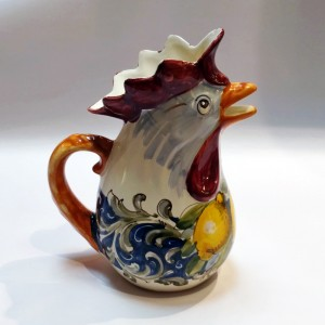 Volute Rooster Pitcher - Italian Pottery Outlet