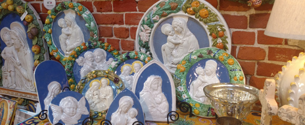 Italian Pottery Outlet in Santa Barbara has an excellent selection of beautiful handmade Della Robbia.