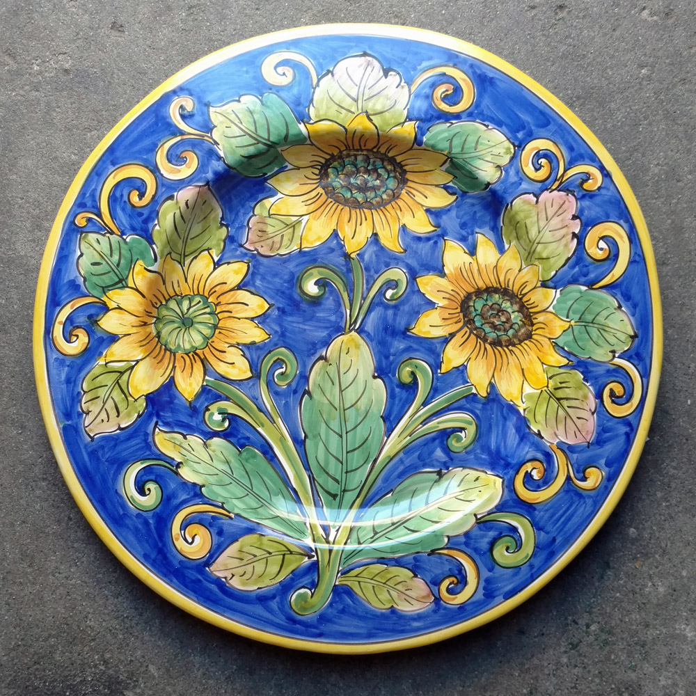 Medium Round Platter Sunflower Italian Pottery Outlet