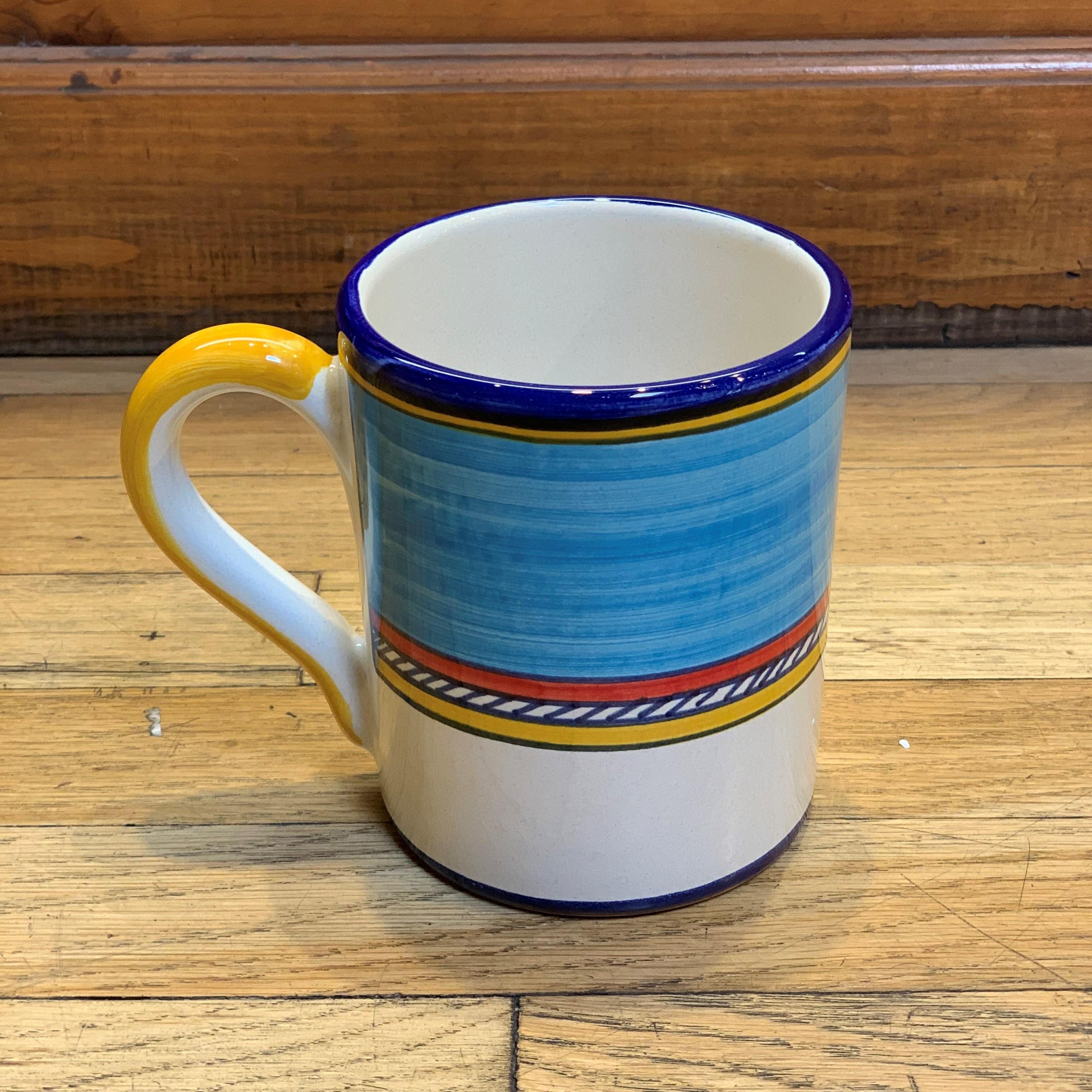 Geo Simple Turquoise Mug Italian Pottery Outlet